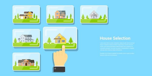 Afbeelding van een menselijk handglas en aantal huizen, huisselectie, huisproject, onroerend goed concept,