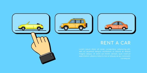 Afbeelding van een menselijke hand die naar een auto wijst, autoselectie, conceptbanner voor autoverhuur,