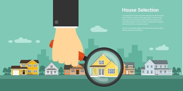 Afbeelding van een menselijke hand met vergrootglas en aantal huizen, huisselectie, huisproject, onroerend goed concept,