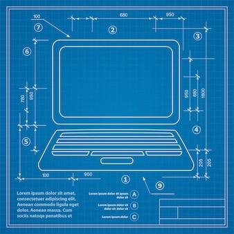Afbeelding van een personal computer op de achtergrond van een blauwdruktekening