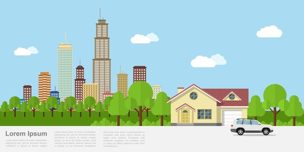 Afbeelding van een privéwoning met een grote stad op de achtergrond, stijlbanner