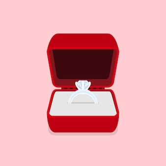Afbeelding van een ring met diamant, stijlillustratie