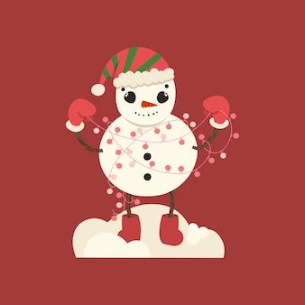 Afbeelding van een stripfiguur. sneeuwman met een slinger in zijn handen.