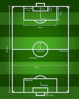 Afbeelding van een voetbalveld met aanduiding van alle maten