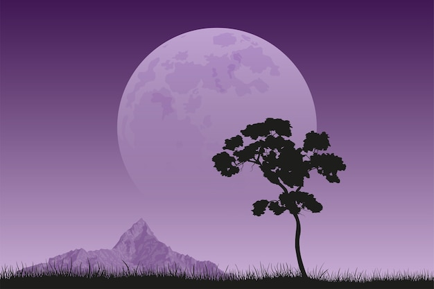 Afbeelding van een zwart silhouet van de boom met bergtop en volle maan op achtergrond, vredig en stil landschap, natuurschoon