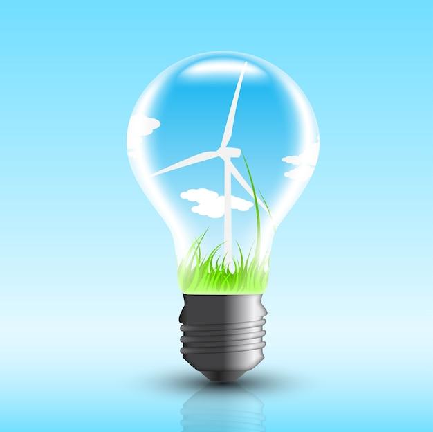 Afbeelding van elektrische lamp met windmolen erin,