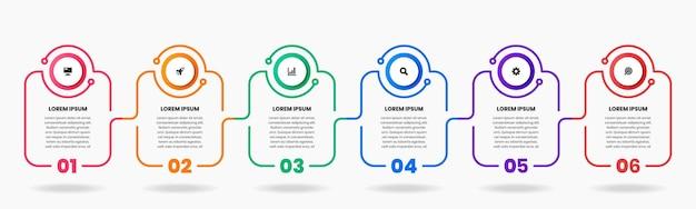 Afbeelding van infographic element ontwerpsjablonen met 6 cijfers