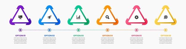 Afbeelding van infographic element ontwerpsjablonen met pictogrammen en 6 opties