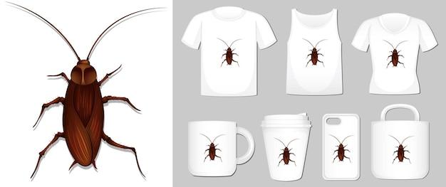 Afbeelding van kakkerlak op verschillende soorten productsjabloon