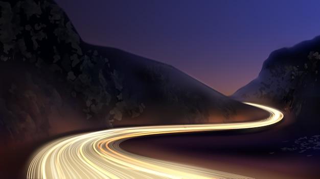 Afbeelding van kleurrijke lichtsporen met langdurige blootstelling aan bewegingsonscherpte