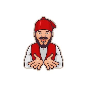 Afbeelding van mascotte chef-kok turkije illustratie, perfect voor logo, pictogram of mascotte