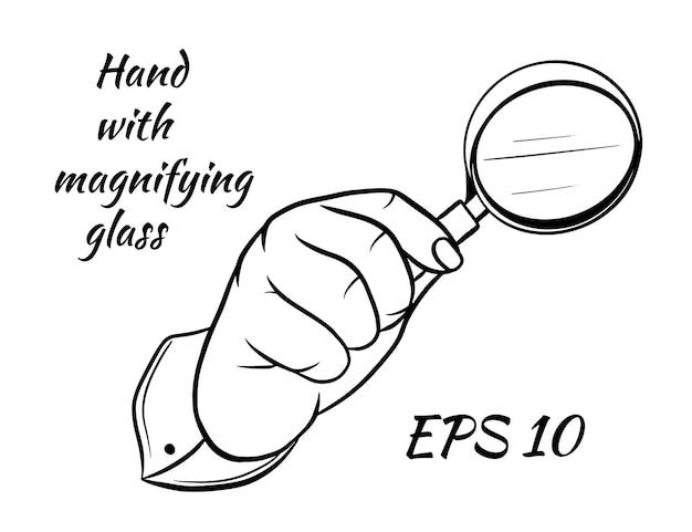 Afbeelding van menselijke hand met een vergrootglas, cartoon stijl
