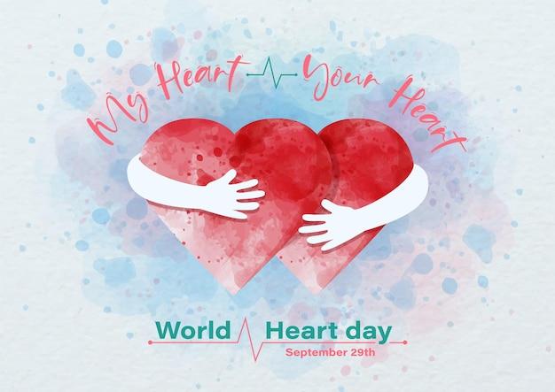 Afbeelding van menselijke handen die een rood hart omhelzen en de formulering van wereldhartdag, voorbeeldteksten op blauwe en witte papieren patroonachtergrond. affichecampagne in aquarellen en vectordesign.