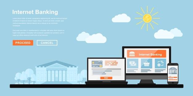 Afbeelding van pc-monitor, notebook en mobiele telefoon met bankgebouw op achtergrond, stijlconcept voor internetbankieren, online betalingen concept