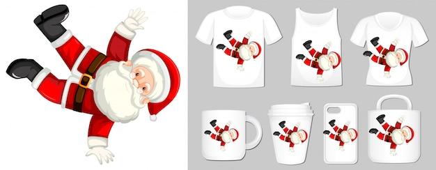 Afbeelding van santa op verschillende soorten productsjabloon