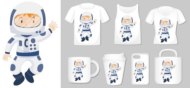 Afbeelding van spaceman op verschillende productsjablonen