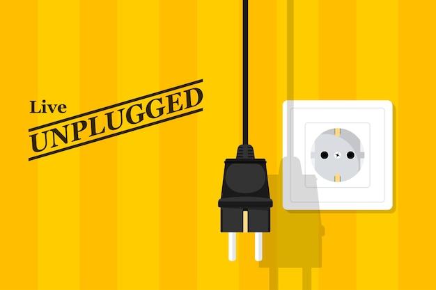 Afbeelding van stopcontact en plud, stijlillustratie, poster voor livemuziek