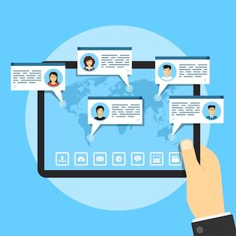 Afbeelding van tablet met wereldkaart en mensenavatars, sociaal netwerkconcept, stijlillustratie