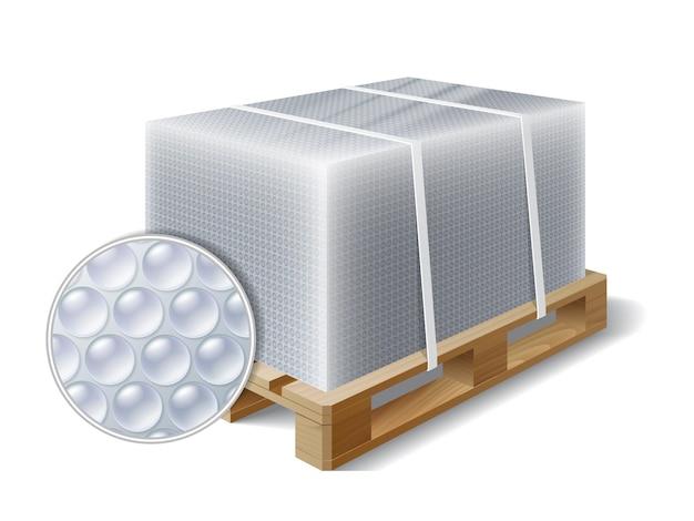Afbeelding van vracht verpakt noppenfolie op houten pallet. symbool transport verzending. vector illustratie