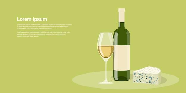 Afbeelding van wijnfles, glas wijn en kaas, stijl illustratie