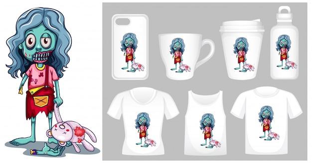 Afbeelding van zombie met pop op verschillende soorten productsjabloon