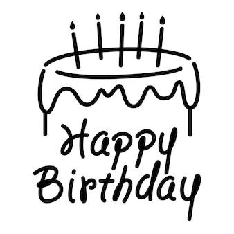 Afbeelding verjaardagstaart en gelukkige verjaardag woorden, eenvoudige hand schets stijl, zwarte lijn graphics op witte achtergrond.