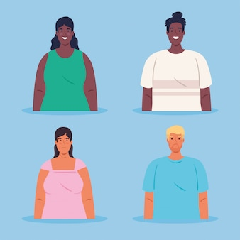 Afbeeldingen van multi-etnische jongeren, cultureel en diversiteitsconcept
