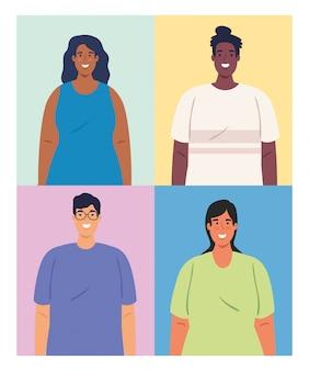 Afbeeldingen van multi-etnische mensen, cultureel en diversiteitsconcept