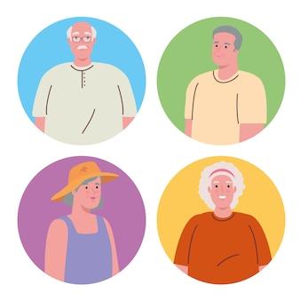Afbeeldingen van oude mensen op rond frame