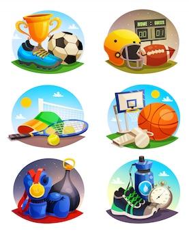 Afbeeldingen verzameling van sport inventaris