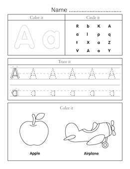 Afdrukbaar werkblad met engelse alfabetletters met schattige afbeelding om in te kleuren
