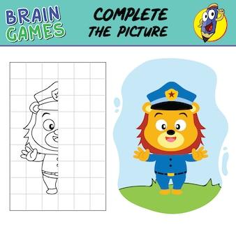 Afdrukbaar werkblad vervolledigt de tekening, schoolvoorraad hersenspellen van leeuwenpolitieagent