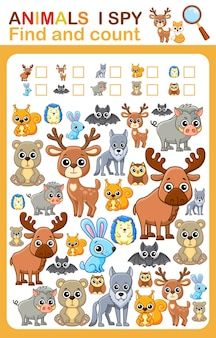 Afdrukbaar werkblad voor de kleuter- en kleuterschoolboekpagina ik bespioneer wilde dieren