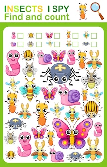 Afdrukbaar werkblad voor de kleuter- en voorschoolse boekenpagina ik bespioneer het aantal insecten