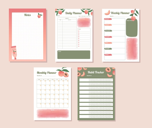 Afdrukbare dagelijkse wekelijkse maandelijkse gewoonte-trackerplanner met handgetekend perzikillustratieontwerp