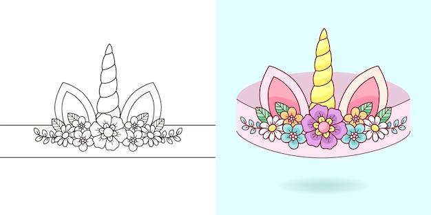 Afdrukbare diy unicorn-hoofdbanden kleurplaat