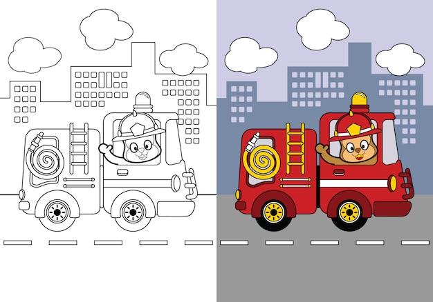 Afdrukbare kleurplaat werkblad, school aanbod hersenspellen van brandweerwagen cartoon