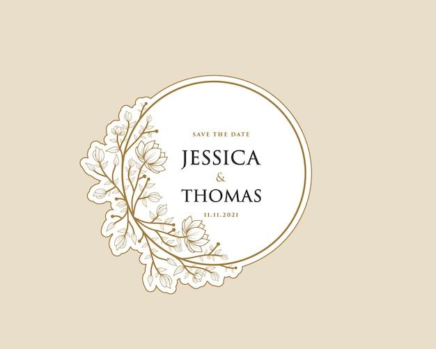Afdrukbare vrouwelijke botanische krans logo sticker voor boeket spa schoonheidssalon boutique trouwkaart