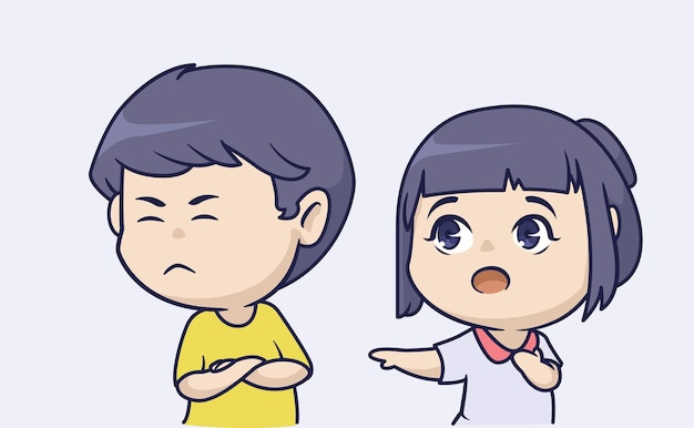Afdrukkenhet schattige chibi-paar en de jongen zijn kieskeurig met het meisje