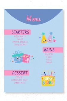 Afdruksjabloon voor kinderverjaardagsfeestje menu