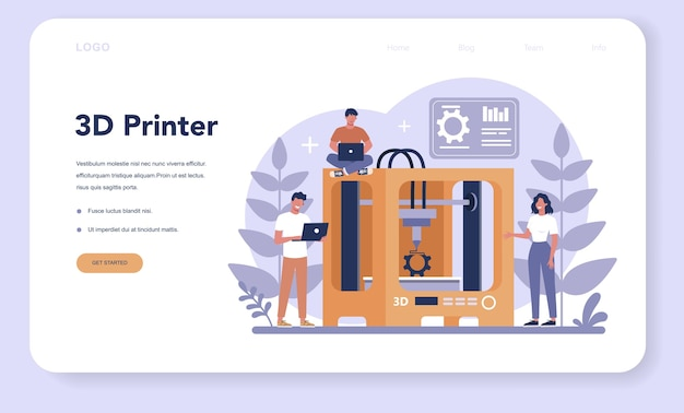 Afdruktechnologie webbanner of bestemmingspagina. 3d-printerapparatuur en ingenieur. moderne prototyping en constructie.