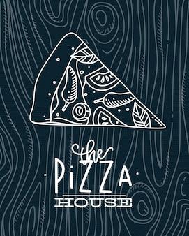 Affiche die de tekening van het pizzahuis met grijze lijnen op blauwe achtergrond van letters voorzien