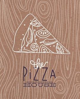 Affiche die de tekening van het pizzahuis met grijze lijnen op bruine achtergrond van letters voorzien