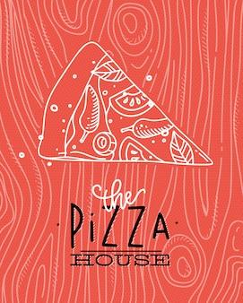 Affiche die de tekening van het pizzahuis met grijze lijnen op koraalachtergrond van letters voorzien