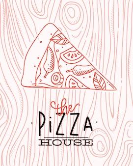 Affiche die de tekening van het pizzahuis met koraallijnen op koraalachtergrond van letters voorzien