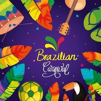Affiche van braziliaans carnaval met kader van traditionele elementen