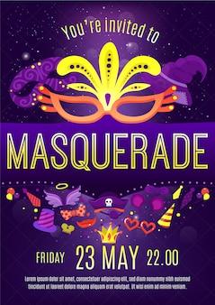 Affiche van de de vieringsuitnodiging van de maskeradenacht