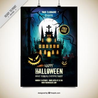Affiche van de partij met een betoverd kasteel voor halloween