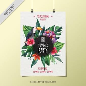 Affiche van de partij met toekan en tropische bloemen in aquarel effect
