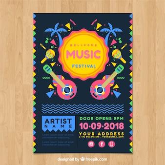 Affiche van muziekfeest met gitaren